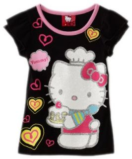 Hello Kitty Girls 2 6X Cake Flutter Sleeve Tee, Black, 2T