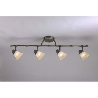 Transitional Antique Brass 4 light Rail/ Semi flush Fixture