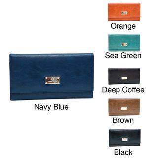 Anais Gvani Womens Classic Genuine Leather Tri Fold Wallet