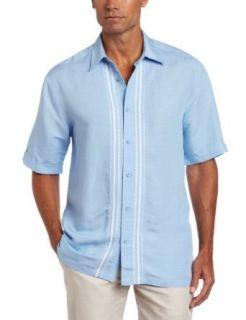 Cubavera Mens Short Sleeve Woven Shirt With Tucking and
