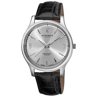 Akribos XXIV Mens Stainless Steel Swiss Quartz Strap Watch