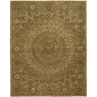 Handmade Medallion Light Brown/ Grey Wool Rug (76 x 96)