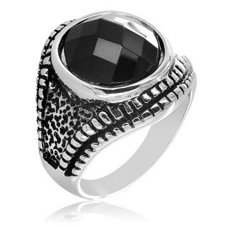 Stainless Steel Textured and Black CZ Ring