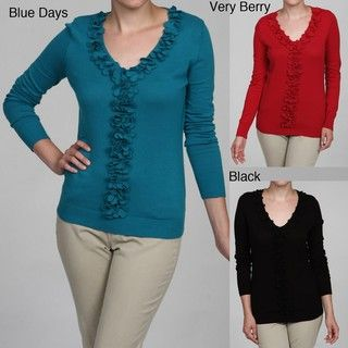 Knitway Womens Ruffle Front Top