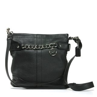 Coach Chain Strap Black Leather Crossbody Bag