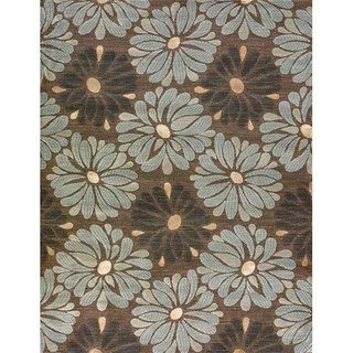 Amber Brown and Blue Floral Rug (77 x 105)