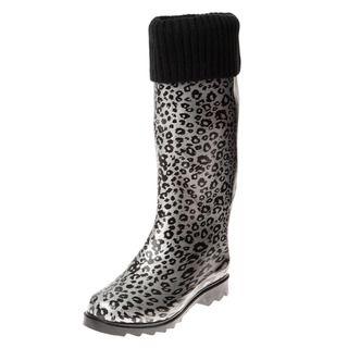 Henry Ferrera Womens Silver Leopard Printed Knit Cuff Rain Boots