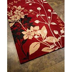 Hand tufted Red Floral Wool Area Rug (96 x 136)