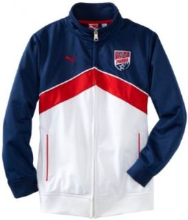 PUMA Boys 8 20 USA Team Jacket, Blue, X Large Clothing
