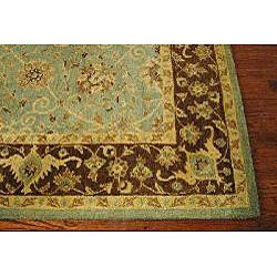 Handmade Traditions Teal/ Brown Wool Rug (96 x 136)