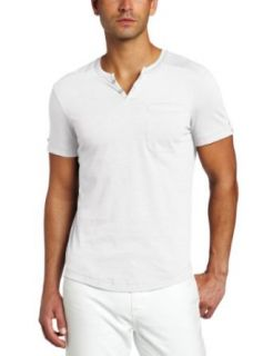 Kenneth Cole Mens Henley Shirt, White, XX Large Clothing