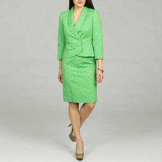 Tahari Womens Green Apple Skirt Jacquard Skirt Suit