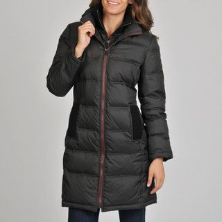 London Fog Womens Black Quilted Down Coat