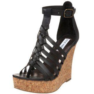 Steve Madden Womens Qamraa Wedge Sandal,Black Leather,8.5 M US Shoes