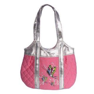 Ed Hardy Girls Pink Butterfly Tote Handbag