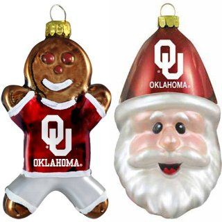 NCAA Oklahoma Sooners Blown Glass Gingerbread Man & Santa