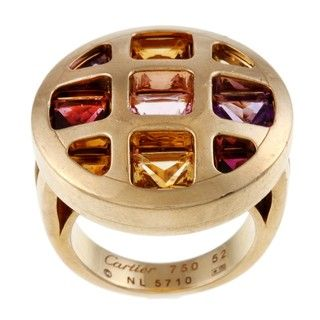 Cartier 18k Yellow Gold Multi gemstone Pasha Estate Ring