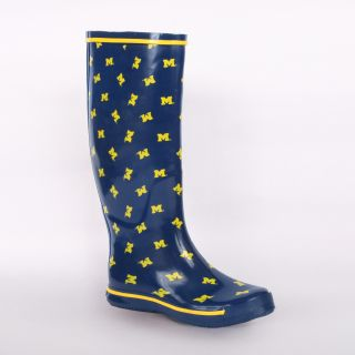 Michigan Wolverines Womens Scattered Logo Rain Boots