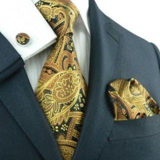 Landisun 651 Gold Black Paisleys Mens Silk Tie Set Tie