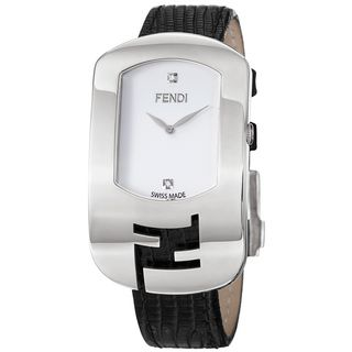 Fendi Womens Chameleon White Diamond Dial Black Leather Strap Watch