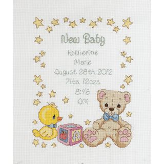 Precious Moments Birth Record Counted Cross Stitch Kit 11X14 14