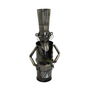 Art Deco French Chef Metal Wine Bottle Holder