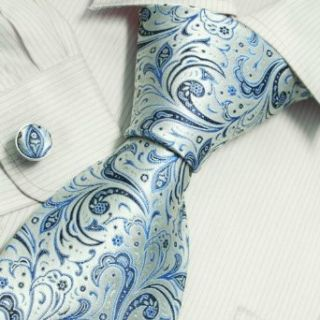 Blue Florals Cheap Ties for Men White Pattern Valentine