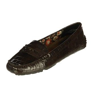 Anne Klein Womens Grefty Brown Driving Loafers