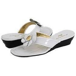 AK Anne Klein Mackenzie White Patent Sandals