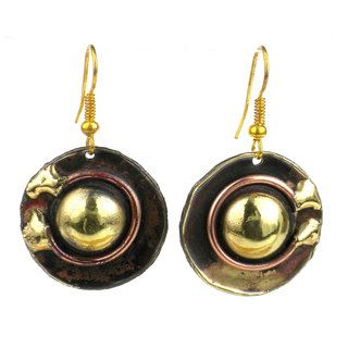 Circle Within Earrings Handmade in Copper and Brass (South Africa