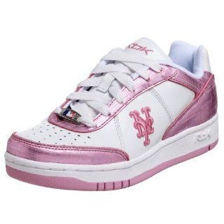 Womens MLB Mets Clubhouse Shimmer Sneaker,White/Pink,5 M Shoes