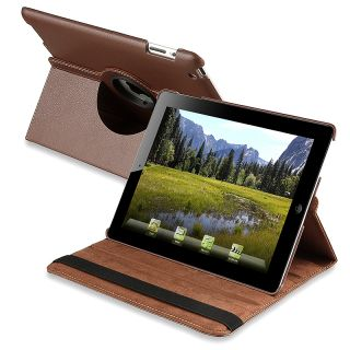 Brown 360 degree Leather Swivel Case for Apple iPad 2