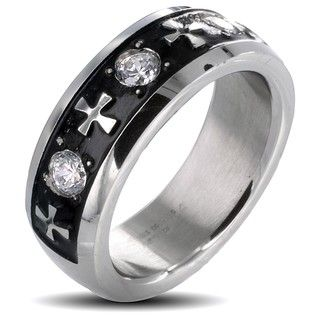 Stainless Steel Mens Celtic Cross and Triple Crystal Stone Ring