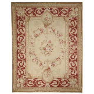 knotted French Aubusson Ivory Wool Rug (12 x 15)