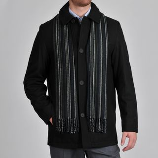 Perry Ellis Mens Wool Blend Button Front Jacket with Scarf