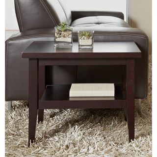Espresso Solid Wood Side Table