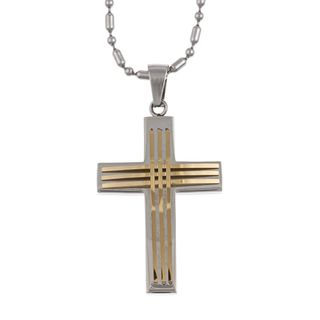 Two tone Stainless Steel Mens Cross Necklace