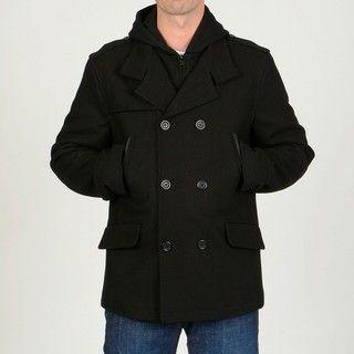 Chaps Mens Black Wool blend Hooded Peacoat