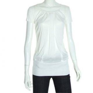 Allegra K Ladies White Ribbing Short Sleevels Round Neck