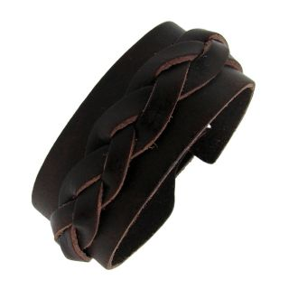 Genuine Brown Leather Wide Cuff Woven Design Bracelet