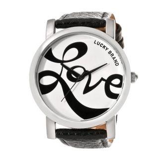 Lucky Brand Womens Silvertone Black Leather Pebblegrain Strap Watch