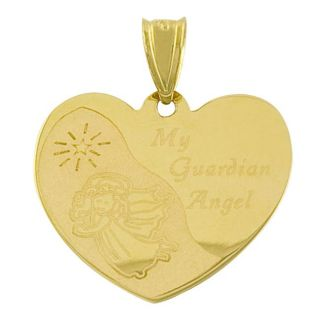 14k Yellow Gold My Guardian Angel Prayer Charm