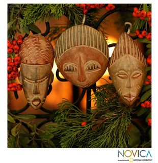 Set of 3 Sese Wood Three Kings Ornaments (Ghana)