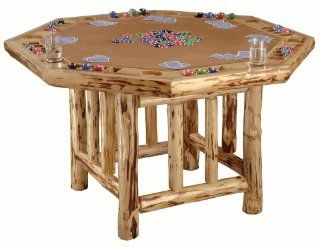 Rush Creek Log Cabin Style Octagon Poker Table Sports