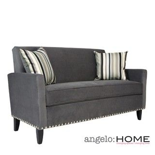 angeloHOME Sutton Antique Silver Gray Sofa with Black Stripe Pillow