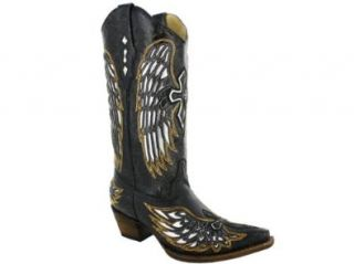 Corral Womens A1994 Boots Black/Silver Wings and Cross Shoes