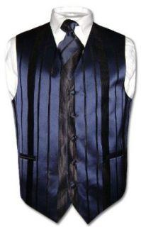 Mens Dress Vest & NeckTie Navy Blue Woven Stripe Design
