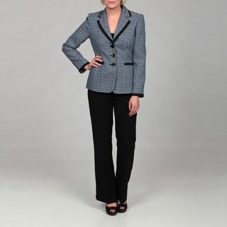 Tahari Womens Navy/ Blue/ White Tweed Pant Suit