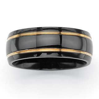 Neno Buscotti Black Ruthenium and Goldtone Stainless Steel Mens Ring