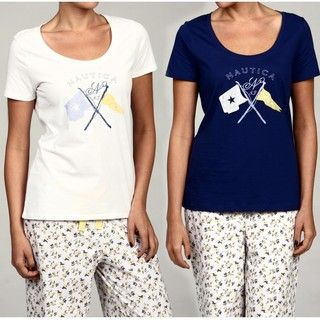 Nautica Womens Sleepwear Scoop Neck Logo Tee (Set of 2)